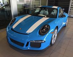 Porsche 911R painted in paint to sample Mexico Blue w/ white stripes and accents  Photo taken by: @tsubasa650 on Instagram