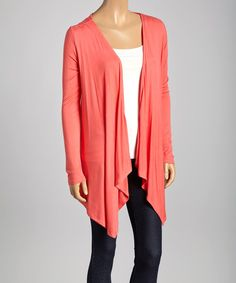 Take a look at the Coral Layered Open Cardigan on #zulily today!
