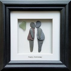 Happy Anniversary pebble art picture by CornishPebbleArt on Etsy