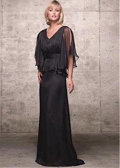 Glamorous Chiffon A-Line V-Neckline Full Length Mother of the Bride Dress