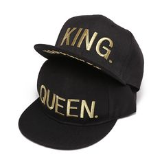 7060764f KING QUEEN Gold letters Embroidery Snapback Hats Flat Bill Trucker Hats  Acrylic Men Women Gifts for
