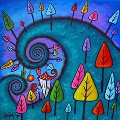 Acrylic - The Fanciful Forest - I really like the colorful, playful approach to folk art like this!