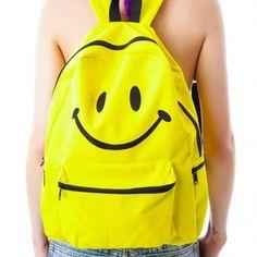 45.99$  Buy here - http://vioxp.justgood.pw/vig/item.php?t=aqc8jd433268 - emoji printing backpack yellow color backpacks for teenage girls smiling face fu