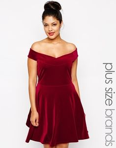 Pink Clove Velvet Bardot Skater Dress at asos.com 4a249eadb