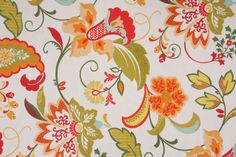 Floral/Vine Outdoor :: Mill Creek Floral Printed Poly Outdoor Fabric in Mandarin $8.95 per yard - Fabric Guru.com: Fabric, Discount Fabric, Upholstery Fabric, Drapery Fabric, Fabric Remnants, wholesale fabric, fabrics, fabricguru, fabricguru.com, Waverly, P. Kaufmann, Schumacher, Robert Allen, Bloomcraft, Laura Ashley, Kravet, Greeff