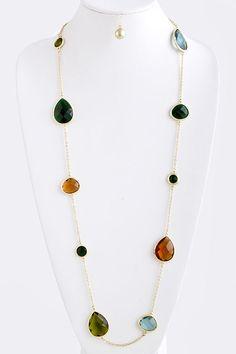 Meagan Teardrop Necklace Set on Emma Stine Limited