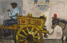 Alberto Morrocco - THE SICILIAN CART, oil on canvas
