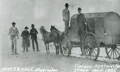 Shows the Ilwaco Oysterville Stagecoach in Oysterville, Washington, ca. 1885.