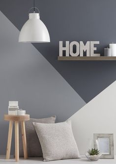 Accent wall ideas for you and your home or room. You can save and share all accent wall decorating pictures. There are easy and cheap ways of . Geometric Wall Paint, Geometric Shapes, Modern Wall Paint, Style Deco, Living Room Grey, Trendy Home, Modern Interior Design, Gray Interior, Modern Interiors