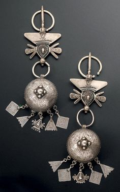 Morocco | Pair of fibule from the Zagora region, Draa Valley | Silver.  Length 25 cms.  Weight 300 gr || 400€ ~ sold (June '14)