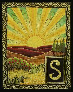 S is for Sunrise Medieval Alphabet Letter  by Emily Balivet