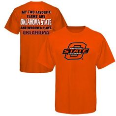 """Gear up for some good, ol' fashioned Cowboys-Sooners rivalry with this Favorite tee featuring an Ohio State logo on the front and """"My two favorite teams are Oklahoma State and whoever plays Oklahoma"""" lettering on the back! It's perfect for getting into the spirit of friendly competition."""