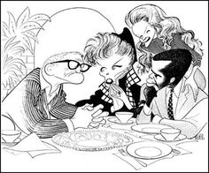 """""""guess who's coming to dinner?"""":  Spencer Tracy, Katherine Hepburn, Sidney Poitier, Katharine Houghton by Al Hirschfeld."""