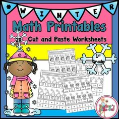 Winter Math Printables has 20 pages of cut and paste worksheets. All worksheets are centered around 1st Grade Math Curriculum.