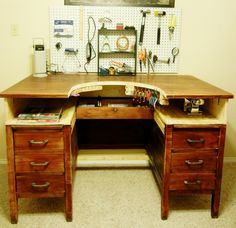 Repurposed desk into jeweler's bench. Love this idea, now I just need someone to make it for me