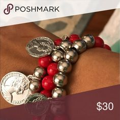 3 piece bracelet set with coin charms Handmade beaded bracelet (red /silver) with 3 coins Jewelry Bracelets