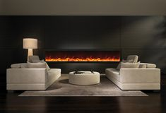 Amantii 88″ wide x 12″ deep Built-in Electric Fireplace (BI-88-DEEP) - Modern Blaze