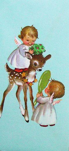 Adorable Vintage Christmas Card - angels and fawn Images Noêl Vintages, Images Vintage, Vintage Christmas Images, Old Fashioned Christmas, Christmas Past, Retro Christmas, Vintage Holiday, Christmas Pictures, Christmas Angels