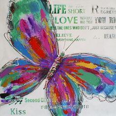 Vlinder kleurrijk 60x60