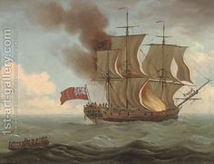 The Luxborough Galley on fire by John the Elder Cleveley