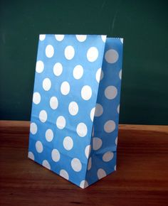 Blue Polka Dot Stand Up Paper Bags -12- Candy Buffet, Party Favor, Wedding Favor - 5 x 7 Flat Bottom Bags