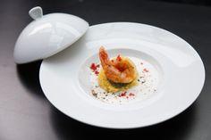"""Concurso """"Sou chef, uso Germer""""  Cuscuz nordestino ao leite de coco com camarões na manteiga de dendê e pesto de coentro - Gabriella Aragão de Farias -  Espaço Gourmet"""