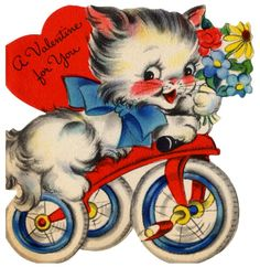 vintage valentine - an adorable kitten riding a tricycle