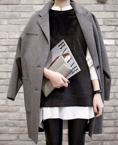 Coat, long cozy blouse, leggings- minimal styling