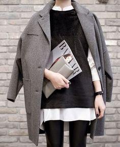 Coat, long cozy blouse, leggings- minimal styling