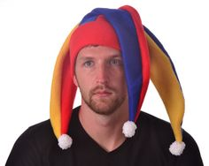 Three Point Jester Hat Orange Red Blue Gold Mens by MountainGoth, $35.00