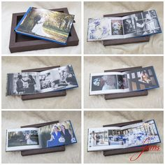 This wedding album looks like a picture frame until you open the box. Designed using Graphistudio's GoBook.