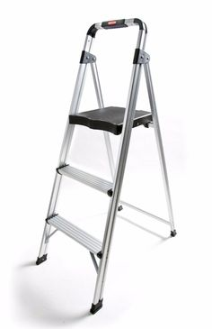 Ladder Stool 3 Step Folding Set Aluminum Cover Black Top Platform Protector   Designed with a solid aluminum frame, sturdy platform step, hand grip and a 225 lb capacity, you'll feel safe and comfortable getting to those hard to reach places. The step stool features non-marring feet, large standing platform that automatically locks in place and a convenient handgrip making the stool easy to climb and carry.