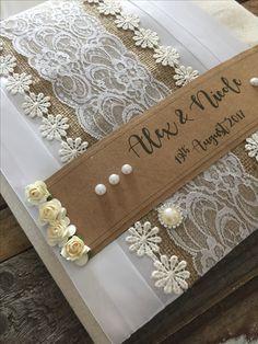 Handmade rustic wedding guest books