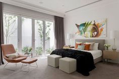 Toorak Residence - Bedroom - Melbourne, completed with an artwork #art #bedroom #contemporary
