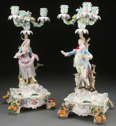 Meissen Porcelain Candelabra.