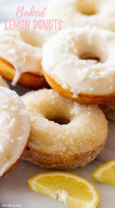 This Easy Lemon Donuts Recipe is for baked lemon donuts! Rolled in lemon sugar or topped with a lemon glaze this is one of my favorite lemon recipes! Perfect for breakfast and brunch and one of the absolute best recipes! Baked Donut Recipes, Easy Baking Recipes, Baked Donuts, Fried Doughnut Recipe, Citrus Recipes, Lemon Dessert Recipes, Dinner Recipes, Sweet Recipes, Snack Recipes