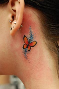 20 Best Small Butterfly Tattoos On Back Of Ear Images In 2017