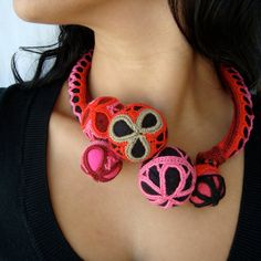 BUGALHO LACE Necklace pink red black