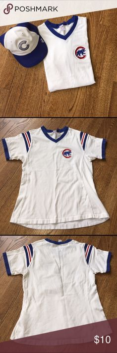 """Chicago Cubs shirt Chicago Cubs shirt. Cotton spandex blend. Size medium. Armpit to armpit 15"""", length 20"""". Small spot around neck see pictures. Not sure what size category so please see measurements. Tops Tees - Short Sleeve"""