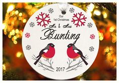 Our First Christmas as Mr & Mrs  Deer ornament Personalized
