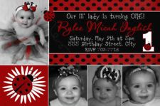 Ladybug Lady Bug First 1st Birthday Invitations Photo Polkadot Red Pink Green x2