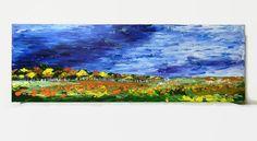 Pumpkin Patch Original Acrylic Painting 12X36 by NatkOriginalArt #ArtistsLoft
