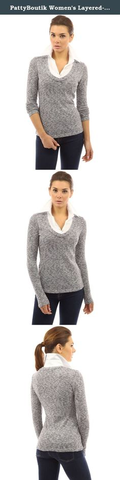 PattyBoutik Women's Layered-look Collar Marled Blouse (Navy Blue and White M). PattyBoutik Cotton Blend 2 in 1 Style Shirt Collar Inset Long Sleeve Pullover Marled Knit Top. Model in pictures is 5 feet 8 inches (173cm) tall wearing size S.