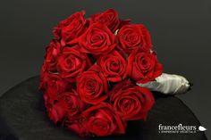 Bouquet de mariée box romantique, couleur rouge.