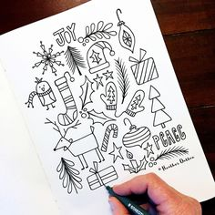 Holiday Joy - Gifts and Costume Ideas for 2020 , Christmas Celebration Bullet Journal Christmas, December Bullet Journal, Bullet Journal Ideas Pages, Bullet Journal Inspiration, Christmas Doodles, Christmas Drawing, Christmas Art, Xmas, Nordic Christmas