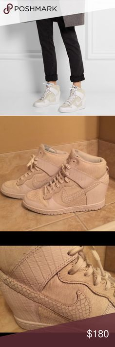 Nike Undercover Dunk Sky Hi leather sneakers Nike wedges with white leather and faux calf hair sneakers. These limited edition Nikes are perfect for  fashionable / casual wear. Worn once but in New condition Nike Shoes Athletic Shoes