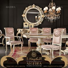 DIning Room table and chairs with carvings, velvet and gold leaf
