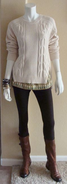 Daily Look: CAbi Fall '14 Zipper Sweater in Oatmeal with vintage Seahorse Cami and Ponte Riding Pants.