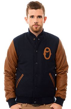 The O Varsity Jacket in Navy by Obey -- need a women's version of this!!