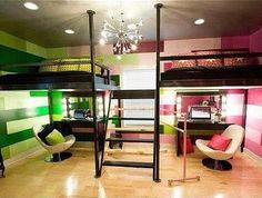 Great idea for a bedroom design for kids who have to share a room!